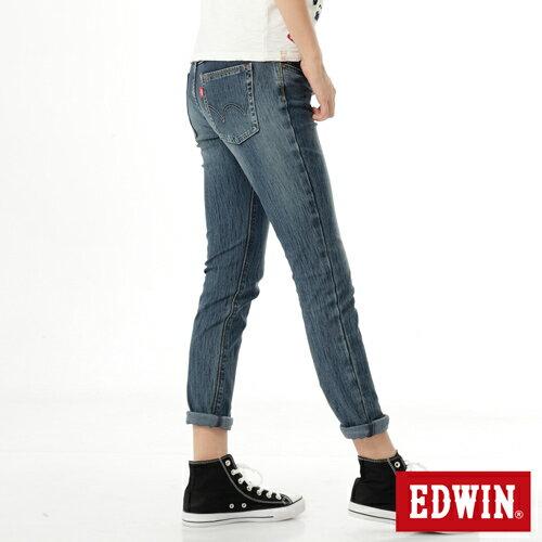 【週年慶。8折優惠↘】Miss EDWIN JERSEYS x B.T迦績皮綁繩窄直筒牛仔褲-女款 拔洗藍 1