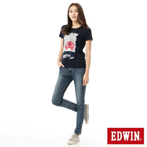 【週年慶。8折優惠↘】Miss EDWIN JERSEYS x B.T迦績皮綁繩窄直筒牛仔褲-女款 拔洗藍 2