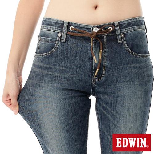 【週年慶。8折優惠↘】Miss EDWIN JERSEYS x B.T迦績皮綁繩窄直筒牛仔褲-女款 拔洗藍 3