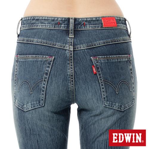 【週年慶。8折優惠↘】Miss EDWIN JERSEYS x B.T迦績皮綁繩窄直筒牛仔褲-女款 拔洗藍 4
