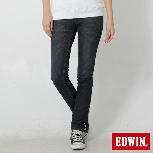 【週年慶。8折優惠↘】Miss EDWIN JERSEYS 迦績內層格紋保溫AB褲-女款 原藍磨 0