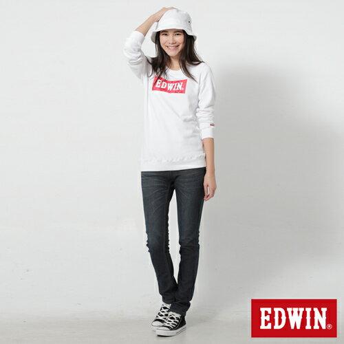 【週年慶。8折優惠↘】Miss EDWIN JERSEYS 迦績內層格紋保溫AB褲-女款 原藍磨 2