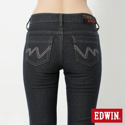 【週年慶。8折優惠↘】Miss EDWIN JERSEYS 迦績內層格紋保溫AB褲-女款 原藍磨 4