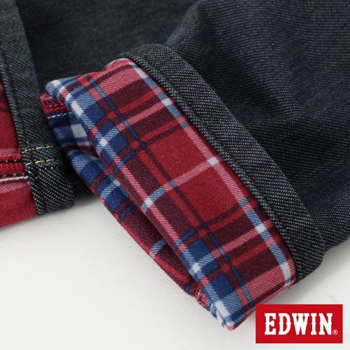 【週年慶。8折優惠↘】Miss EDWIN JERSEYS 迦績內層格紋保溫AB褲-女款 原藍磨 5