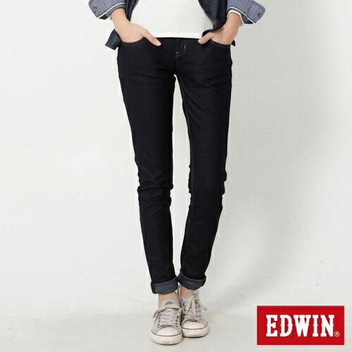 【週年慶。8折優惠↘】Miss EDWIN JERSEYS 迦績紅黑賽車格腰頭AB褲-女款 原藍色【單筆2000結帳輸入優惠券代碼161021-5。現折240元】 0