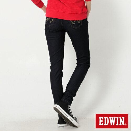 【週年慶。8折優惠↘】Miss EDWIN JERSEYS 迦績紅黑賽車格腰頭AB褲-女款 原藍色【單筆2000結帳輸入優惠券代碼161021-5。現折240元】 1