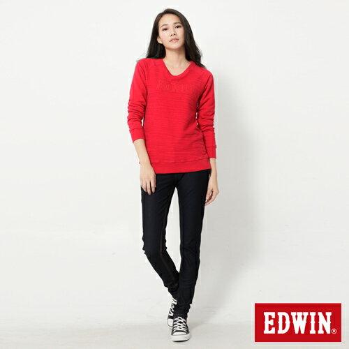 【週年慶。8折優惠↘】Miss EDWIN JERSEYS 迦績紅黑賽車格腰頭AB褲-女款 原藍色【單筆2000結帳輸入優惠券代碼161021-5。現折240元】 2