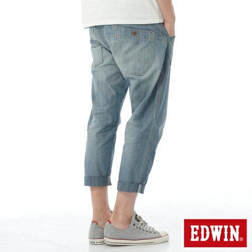 【週年慶。8折優惠↘】EDWIN EASY PANTS 混紡七分休閒褲-男-牛仔藍【單筆2000結帳輸入優惠券代碼161028。現折240元】 1