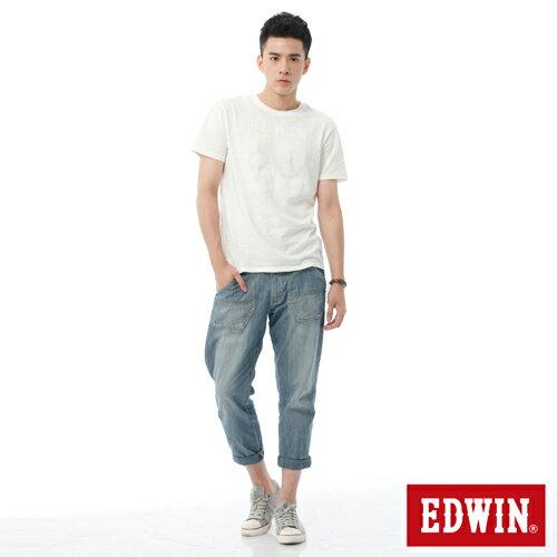 【週年慶。8折優惠↘】EDWIN EASY PANTS 混紡七分休閒褲-男-牛仔藍【單筆2000結帳輸入優惠券代碼161028。現折240元】 2