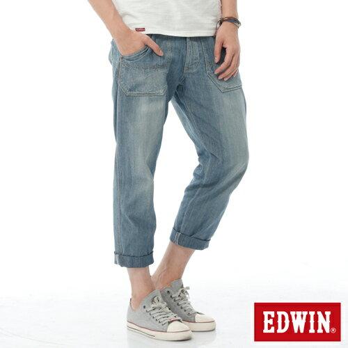 【週年慶。8折優惠↘】EDWIN EASY PANTS 混紡七分休閒褲-男-牛仔藍【單筆2000結帳輸入優惠券代碼161021-4。現折240元】
