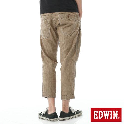 【週年慶。8折優惠↘】EDWIN EASY PANTS 混紡七分休閒褲-男-卡其 1