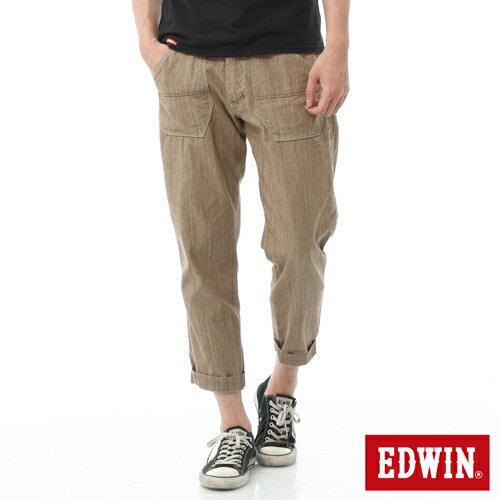 【週年慶。8折優惠↘】EDWIN EASY PANTS 混紡七分休閒褲-男-卡其 0