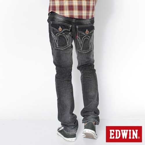 【SUPER SALE。熱銷丹寧888↘】EDWIN 503B.T西海岸風袋蓋直筒褲-男款 牛仔刷洗灰黑色 1