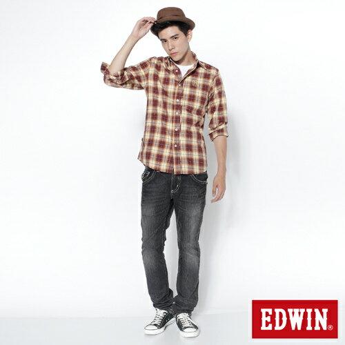 【SUPER SALE。熱銷丹寧888↘】EDWIN 503B.T西海岸風袋蓋直筒褲-男款 牛仔刷洗灰黑色 2