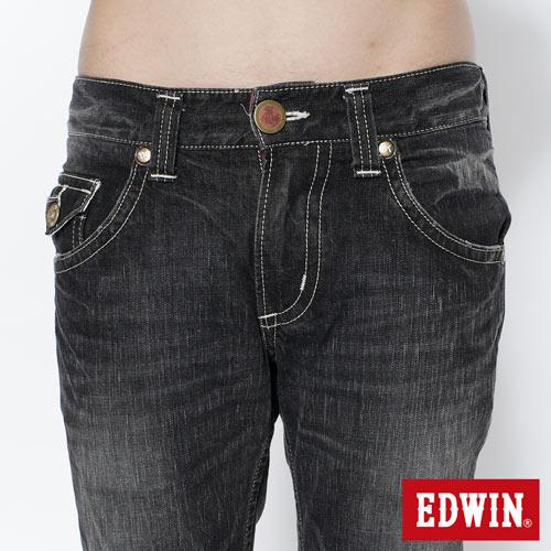 【SUPER SALE。熱銷丹寧888↘】EDWIN 503B.T西海岸風袋蓋直筒褲-男款 牛仔刷洗灰黑色 3