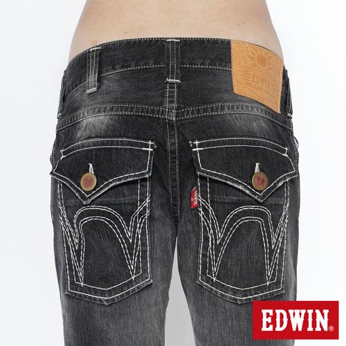 【SUPER SALE。熱銷丹寧888↘】EDWIN 503B.T西海岸風袋蓋直筒褲-男款 牛仔刷洗灰黑色 4