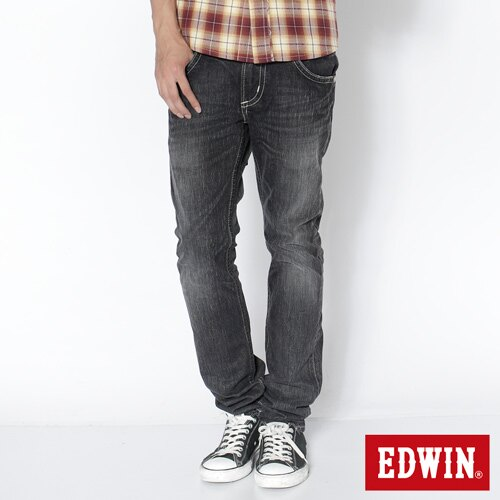 【SUPER SALE。熱銷丹寧888↘】EDWIN 503B.T西海岸風袋蓋直筒褲-男款 牛仔刷洗灰黑色 0