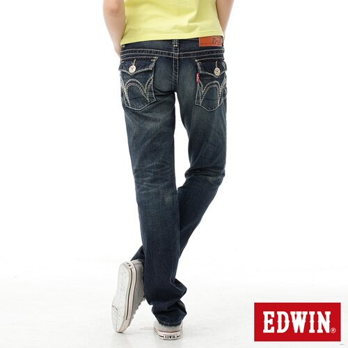 【SUPER SALE。熱銷丹寧888↘】EDWIN BLUE TRIP 503 袋蓋中直筒牛仔褲-女款 原刷藍 1
