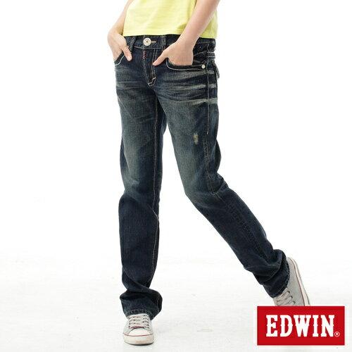 【SUPER SALE。熱銷丹寧888↘】EDWIN BLUE TRIP 503 袋蓋中直筒牛仔褲-女款 原刷藍 0