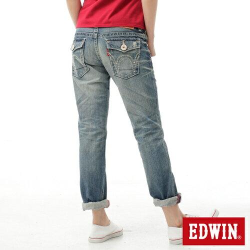 【990元優惠↘】EDWIN BLUE TRIP 503 袋蓋中直筒牛仔褲-女款 輕刷洗復古藍 1