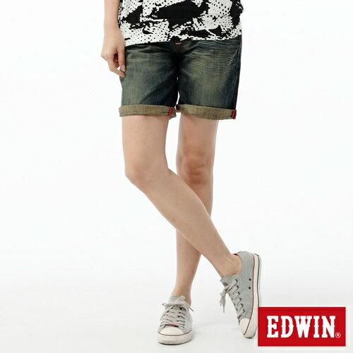 【790元優惠↘】EDWIN Miss503 BLUE TRIP 墨西哥風造型口袋牛仔短褲-女款 中古藍