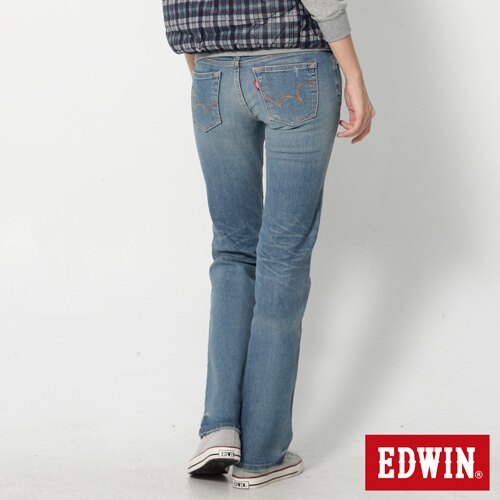 【990元優惠↘】EDWIN Miss 503 EDGE 雙W鏡射繡花口袋 靴型牛仔褲-女款 石洗漂藍 1