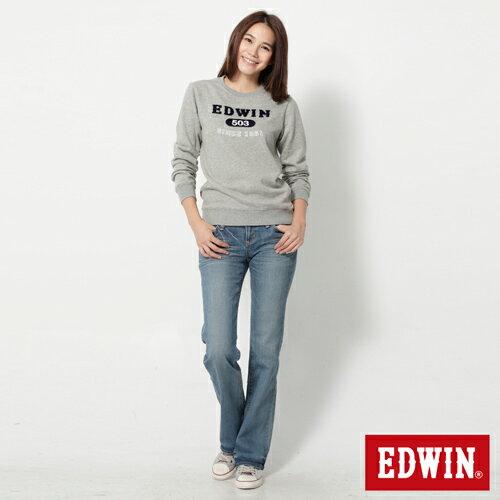 【990元優惠↘】EDWIN Miss 503 EDGE 雙W鏡射繡花口袋 靴型牛仔褲-女款 石洗漂藍 2