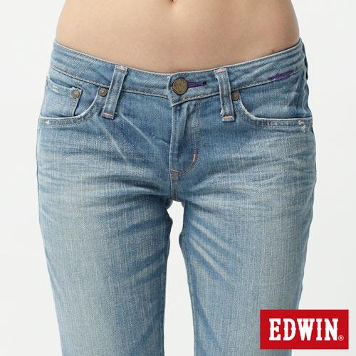 【990元優惠↘】EDWIN Miss 503 EDGE LINE 雙W鏡射繡花口袋 窄直筒牛仔褲-女 石洗漂淺藍 3