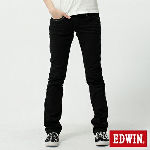 【SUPER SALE。熱銷丹寧888↘】EDWIN Miss 503 EDGE LINE 雙W鏡射繡花口袋 窄直筒牛仔褲-女款 黑色【結帳輸入SS_20161210→現折100元】 0