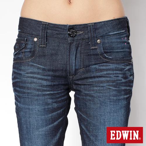 【990元優惠↘】EDWIN Miss 503 BLUE TRIP袋蓋直筒牛仔褲-女款 酵洗藍 3