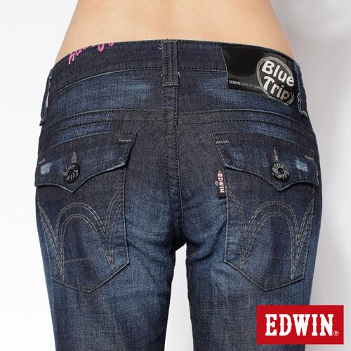 【990元優惠↘】EDWIN Miss 503 BLUE TRIP袋蓋直筒牛仔褲-女款 酵洗藍 4