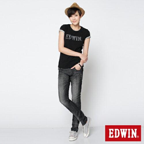 【990元優惠↘】EDWIN Miss 503 BLUE TRIP袋蓋直筒牛仔褲-女款 刷色灰 2