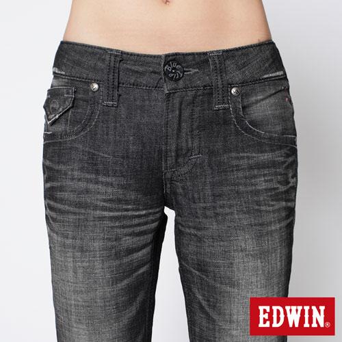 【990元優惠↘】EDWIN Miss 503 BLUE TRIP袋蓋直筒牛仔褲-女款 刷色灰 3