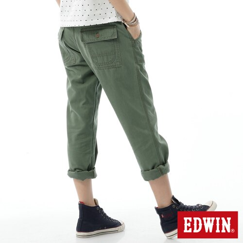【SUPER SALE。丹寧單一價590↘】Miss EDWIN KHAKI 休閒褲-女款 橄欖綠 1