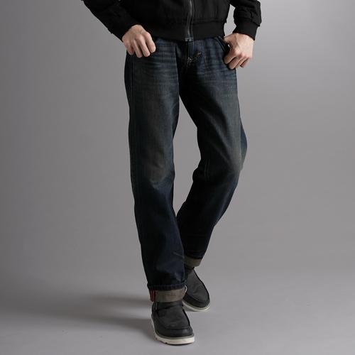 【990元優惠↘】【大尺碼】EDWIN XV 個性刷色反摺 直筒牛仔褲-男款 中古藍 0