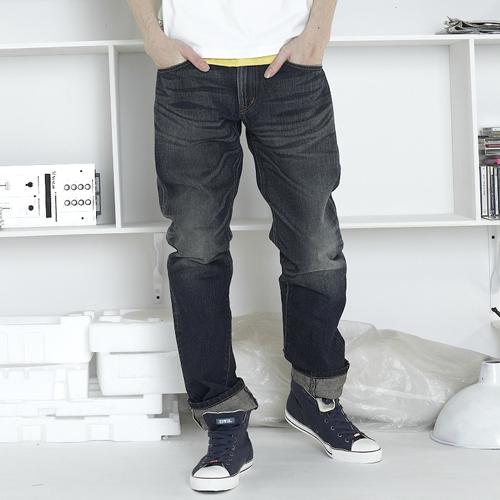 【獨家款式。990元特惠↘】EDWIN 505 ZX 直筒牛仔褲-男款 中古藍 0
