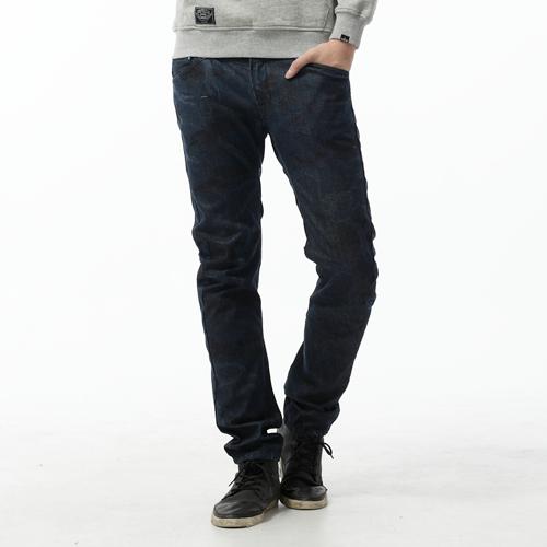 【5折優惠↘】EDWIN E-FUNCTION 迷彩印花3D直筒褲-男款 原藍色 0