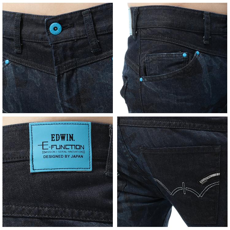 【5折優惠↘】EDWIN E-FUNCTION 迷彩印花3D直筒褲-男款 原藍色 1