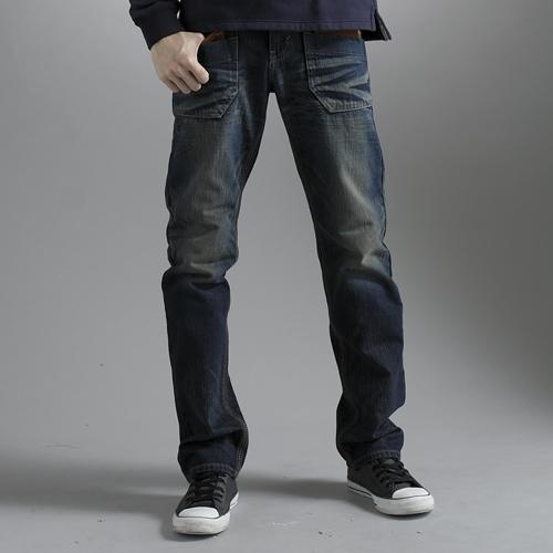 【5折優惠↘】EDWIN BLUE TRIP 牛皮袋蓋中直筒牛仔褲-男款 中古藍 0