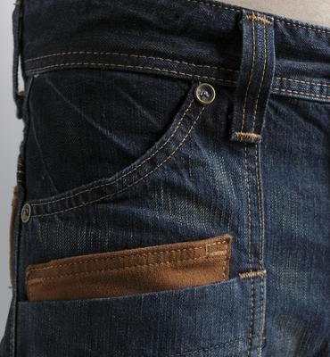 【5折優惠↘】EDWIN BLUE TRIP 牛皮袋蓋中直筒牛仔褲-男款 中古藍 1