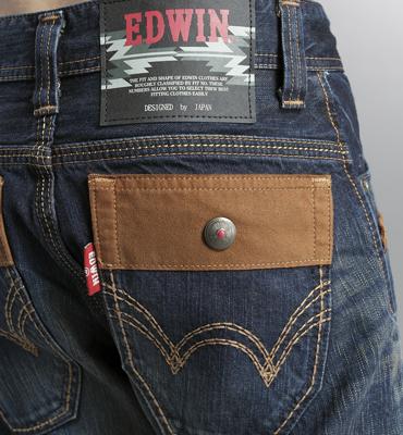 【5折優惠↘】EDWIN BLUE TRIP 牛皮袋蓋中直筒牛仔褲-男款 中古藍 2