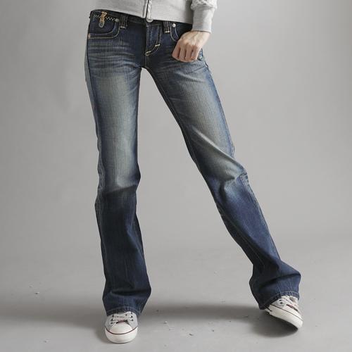 【990元優惠↘】Miss EDWIN BLUE TRIP 交叉縫線靴型牛仔褲 女款 拔洗藍 0