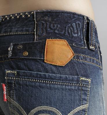 【990元優惠↘】Miss EDWIN BLUE TRIP 交叉縫線靴型牛仔褲 女款 拔洗藍 2