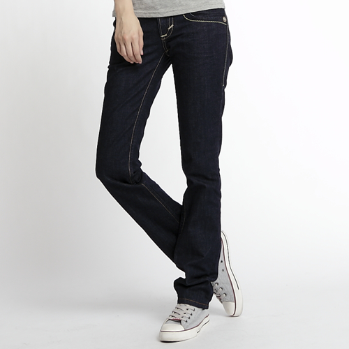 【5折優惠↘】Miss EDWIN BLUE TRIP 褲頭縫線牛仔小直筒褲 女款 原藍色 0