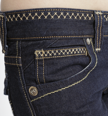 【5折優惠↘】Miss EDWIN BLUE TRIP 褲頭縫線牛仔小直筒褲 女款 原藍色 1