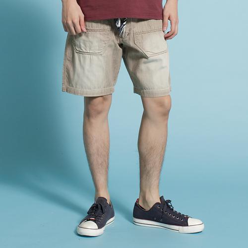 【5折優惠↘】EDWIN EASY PANTS 綁帶水洗休閒短褲-男款 淺卡其 0