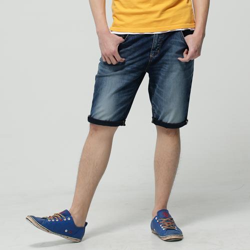 【1290元優惠↘】EDWIN JERSEYS 迦績紅布邊 牛仔短褲-男-石洗綠 0