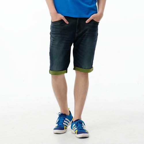 【1290元優惠↘】EDWIN JERSEYS 個性反折 迦績牛仔短褲-男款 原藍磨 0