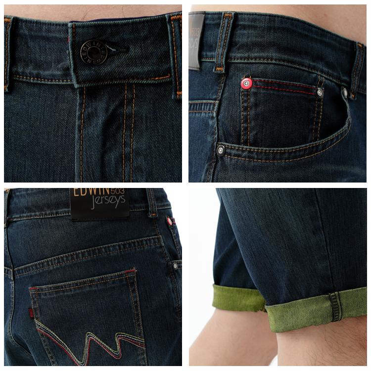 【1290元優惠↘】EDWIN JERSEYS 個性反折 迦績牛仔短褲-男款 原藍磨 1