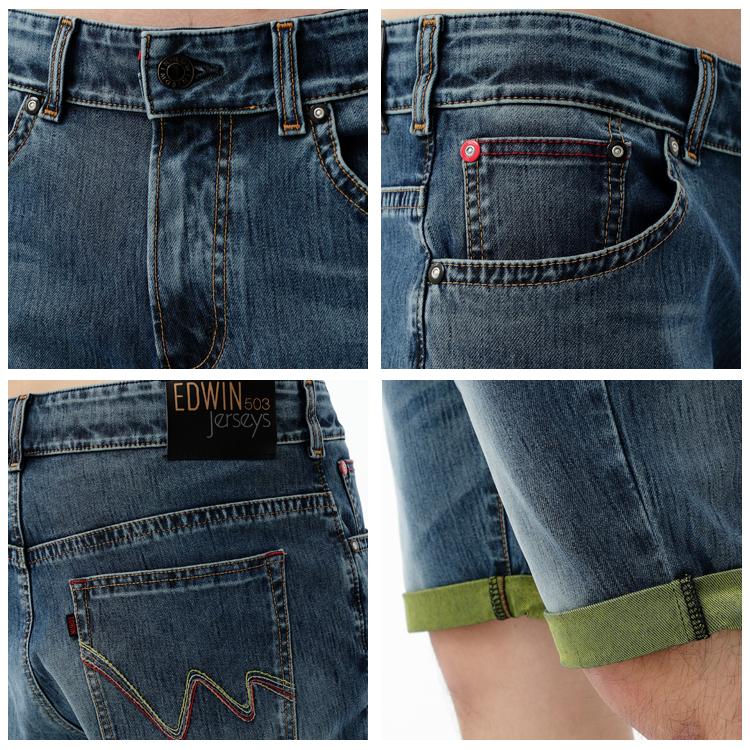 【1290元優惠↘】EDWIN JERSEYS 個性反折 迦績牛仔短褲-男款 石洗綠 1